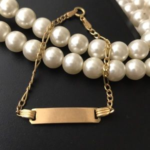 10K yellow gold chain and bar bracelet